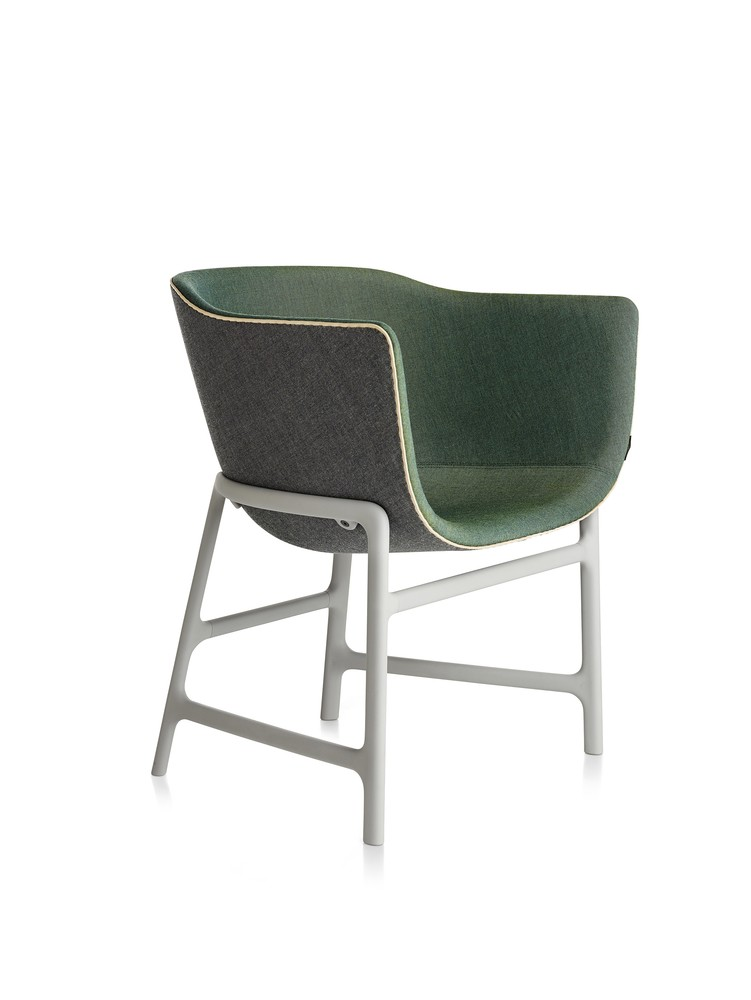 Minuscule Chair with Leather Piping Dark Grey 163, Green 982