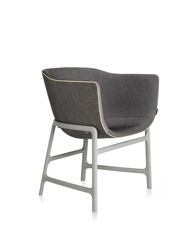 Minuscule Chair with Leather Piping Dark Grey 163, Grey 143