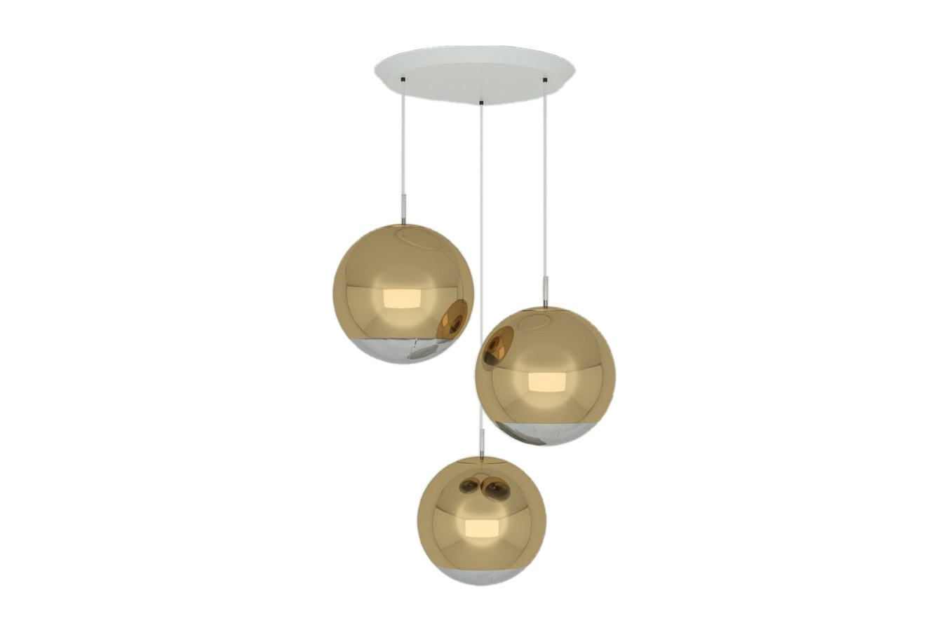 Mirror Ball 40 cm Round Pendant System Gold