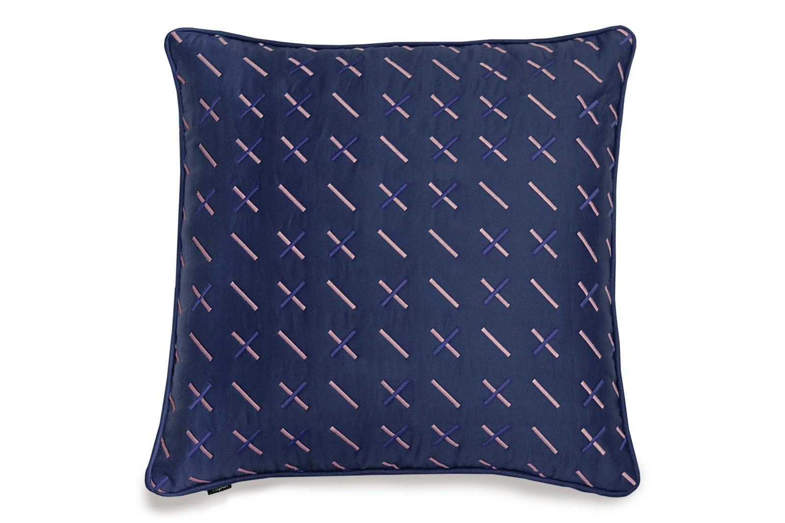 Modern Kantha Cushion Blue Square Cushion 50 x 50cm