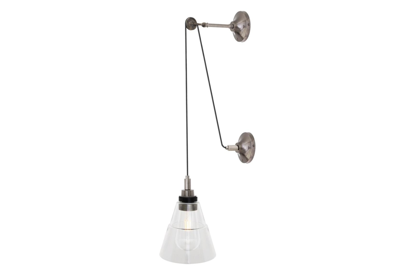 Monroe Pulley Wall Light Antique Silver