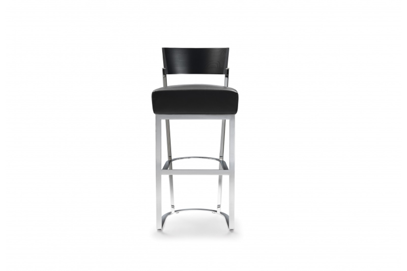 Morgan High Stool Sable 1640, Black Chrome, Wood Finishes Noce Canaletto