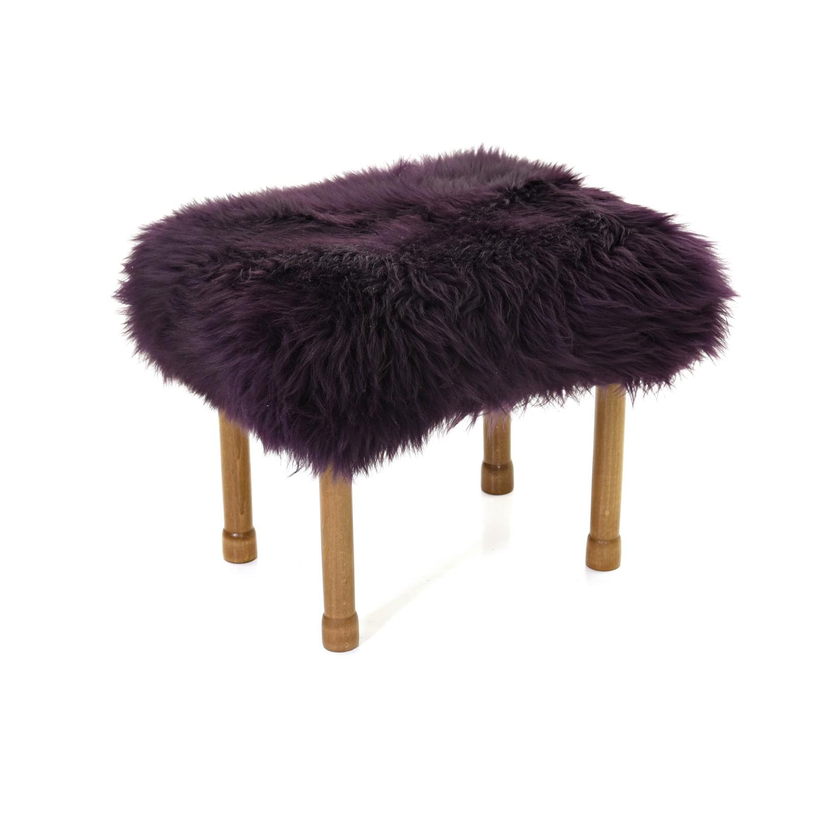 Myfanwy Sheepskin Footstool Aubergine