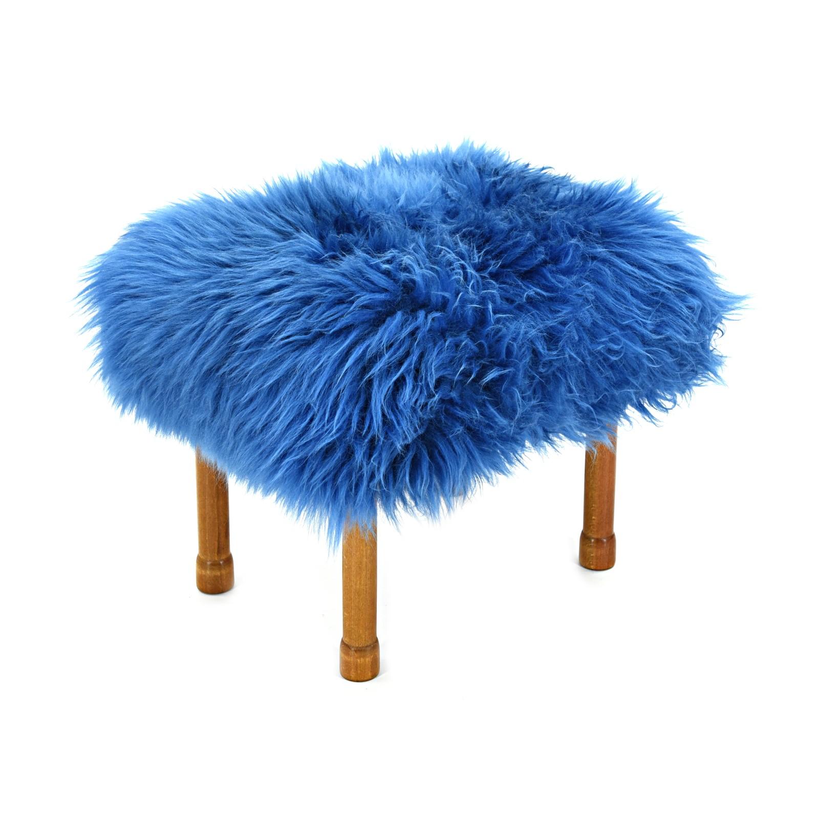 Myfanwy Sheepskin Footstool Cornflower Blue