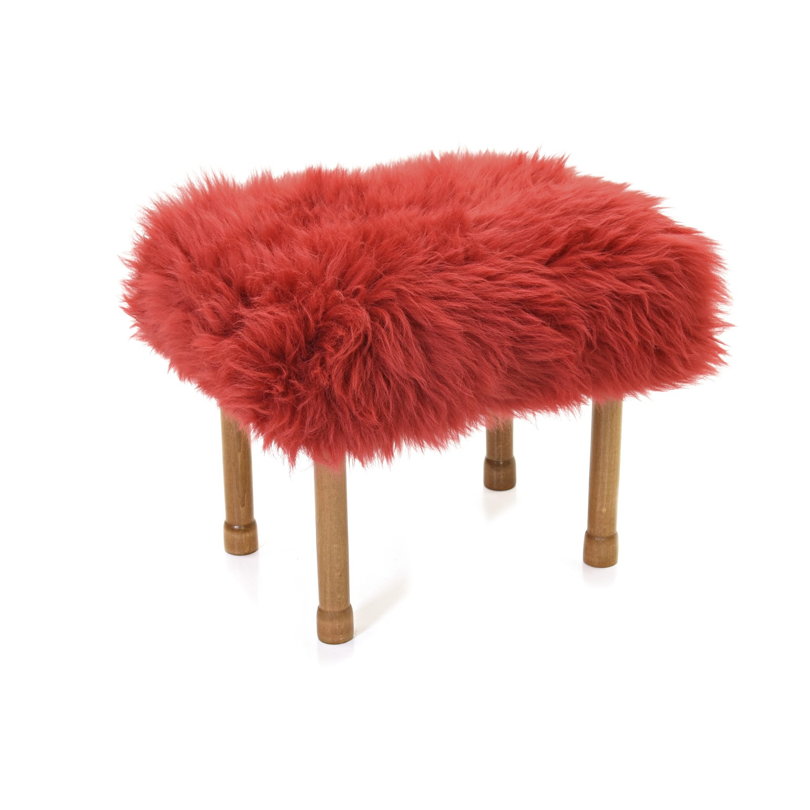Myfanwy Sheepskin Footstool Dragon Red