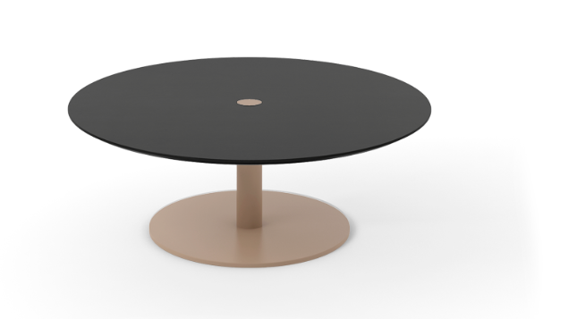Núcleo Coffee Table, Round Beige Textured Metal (ral 1019), Dark Stained Walnut