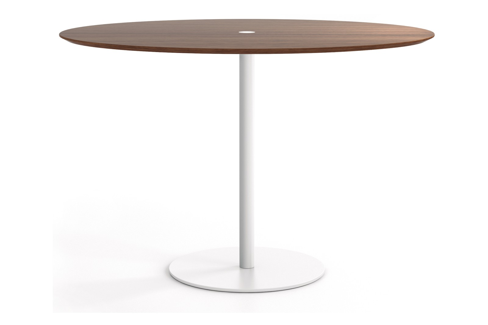 Núcleo Dining Table, Round White Textured Metal, Super-matt Walnut, 80