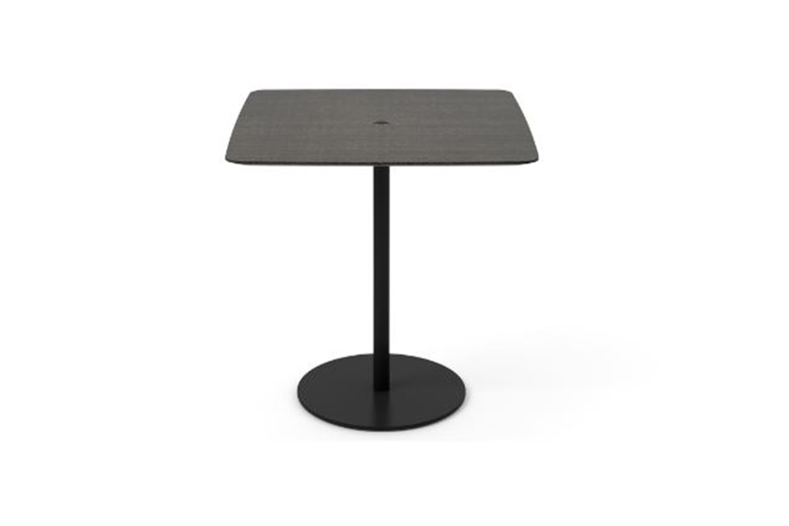 Núcleo Dining Table, Square Black Textured Metal, Dark Grey Stained Oak, 80