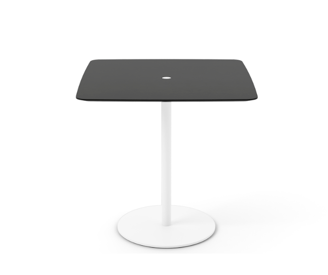 Núcleo Dining Table, Square White Textured Metal, Ebony Stained Oak, 80