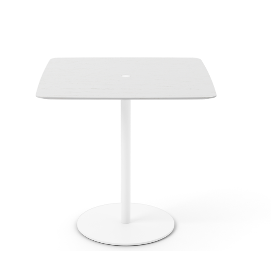 Núcleo Dining Table, Square White Textured Metal, White Open Pore Lacquered On Oak, 80