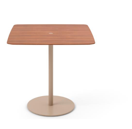 Núcleo Dining Table, Square Beige Textured Metal (ral 1019), Super-matt Walnut, 80