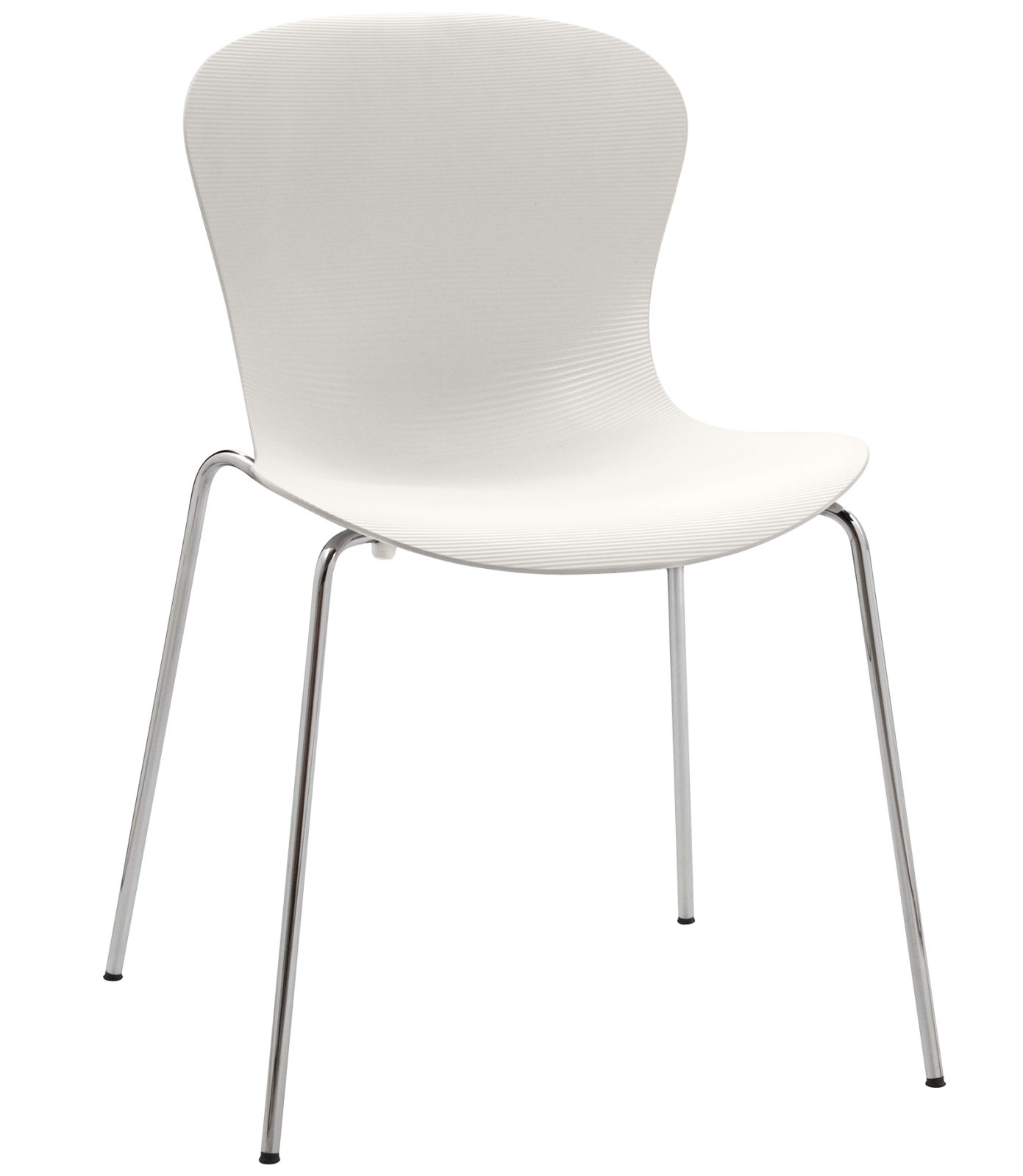 Nap Stackable Chair Nap Milk White, Chromed Steel