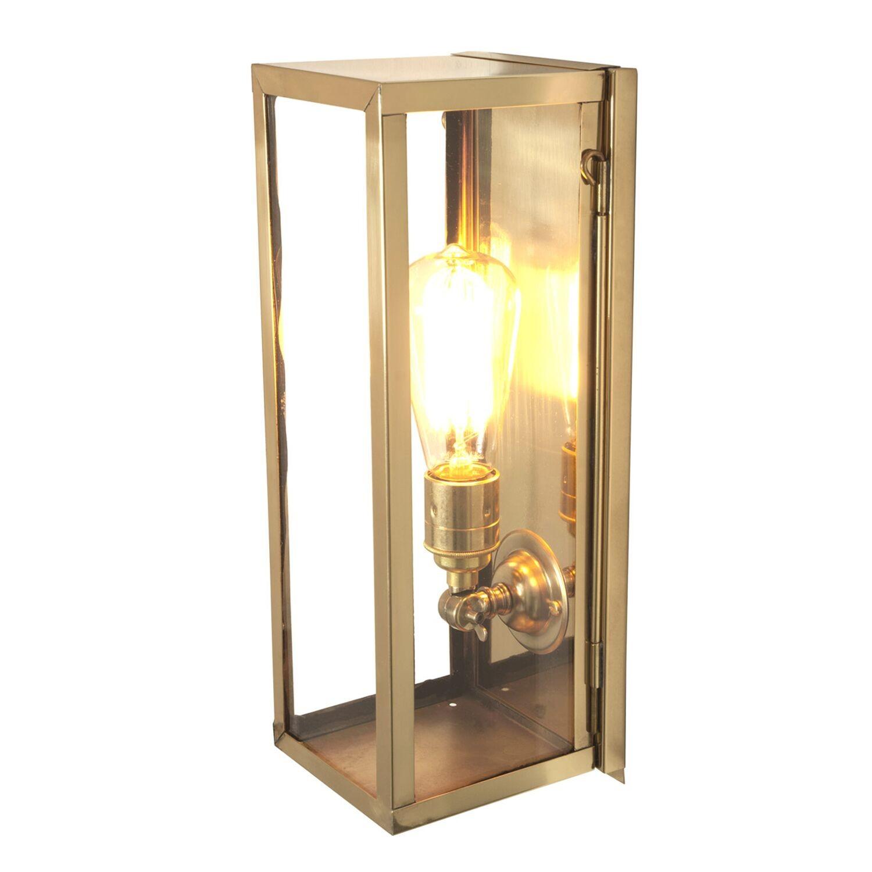 Narrow Box Wall Light 7650 (Internally Glazed) Polished Brass, Clear Glass