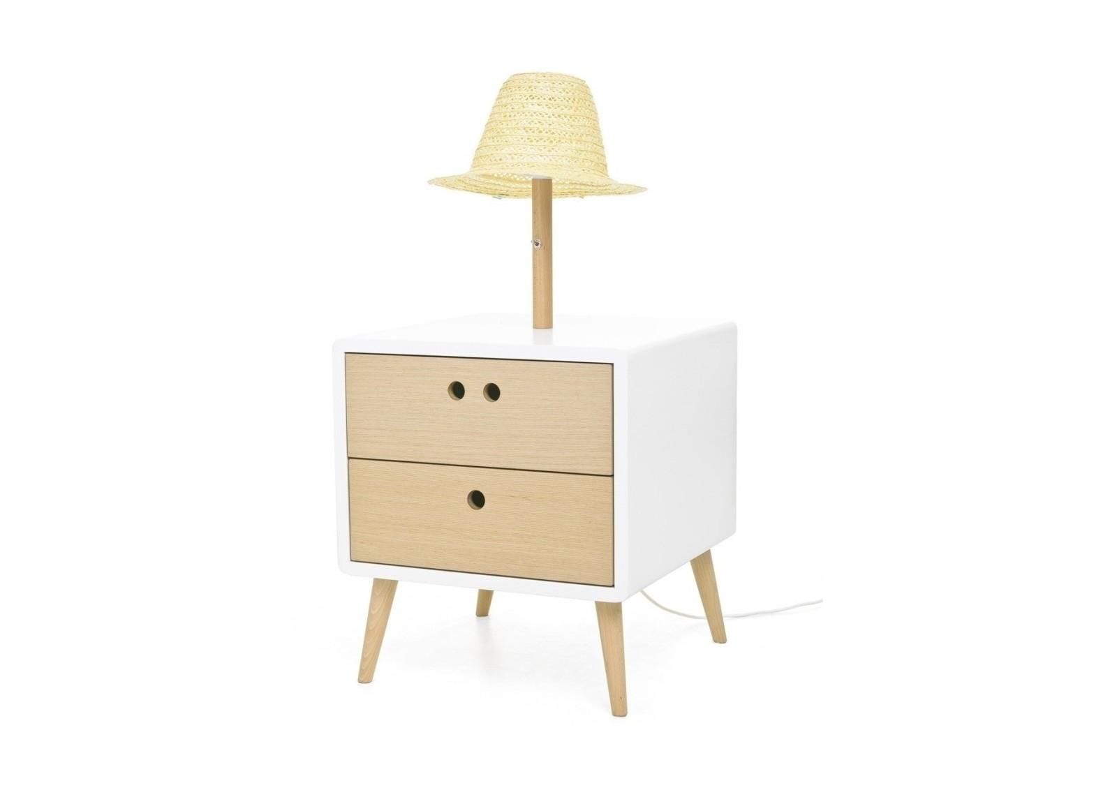 Nel Bedside Table & lamp Standard
