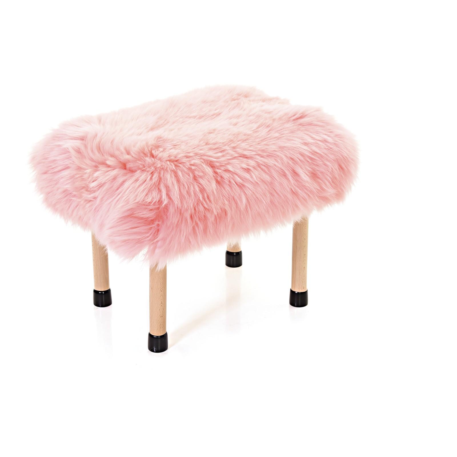 Nerys Sheepskin Footstool Baby Pink