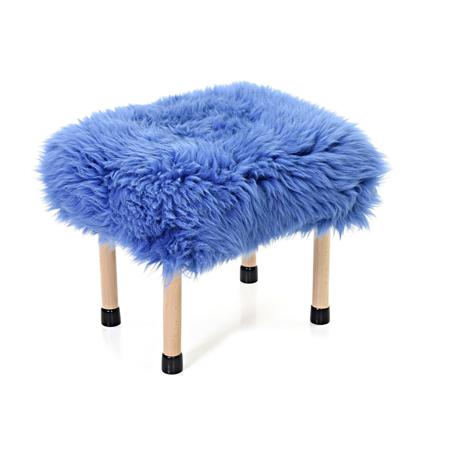 Nerys Sheepskin Footstool Cornflower Blue