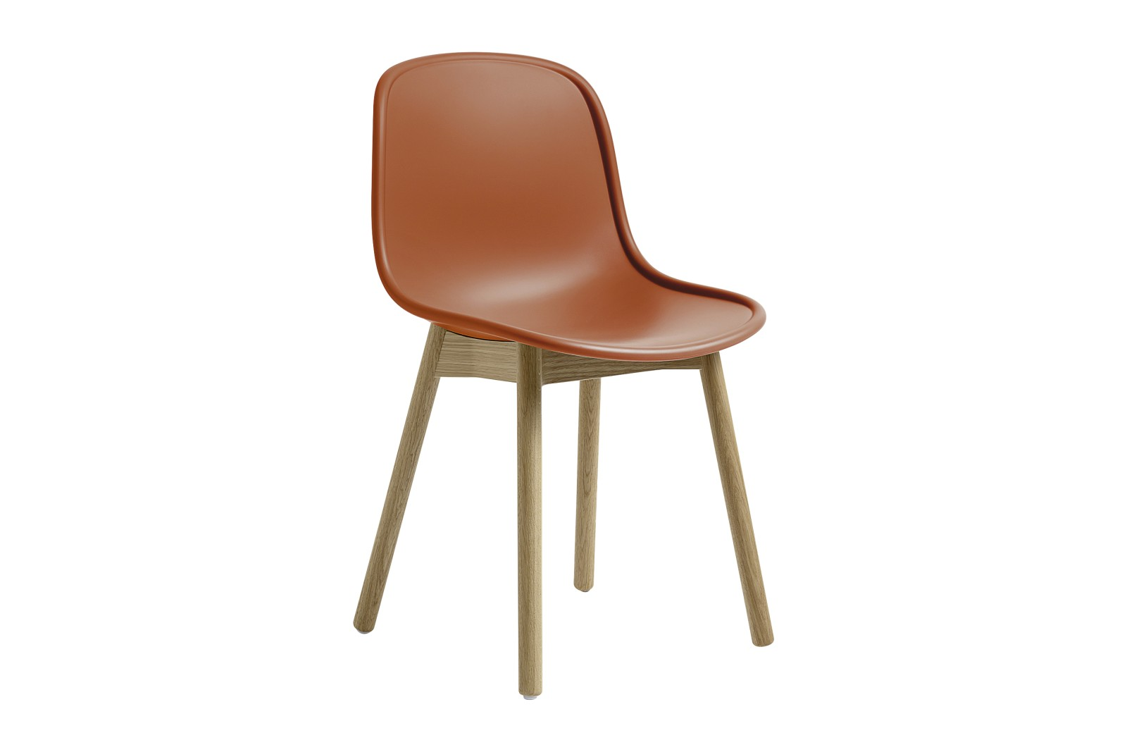 Neu 13 Dining Chair Orange shell, Matt lacquered solid oak frame