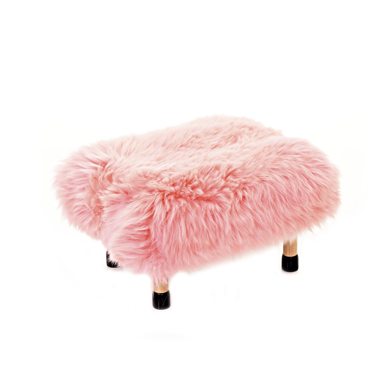 Nia Sheepskin Footstool Baby Pink