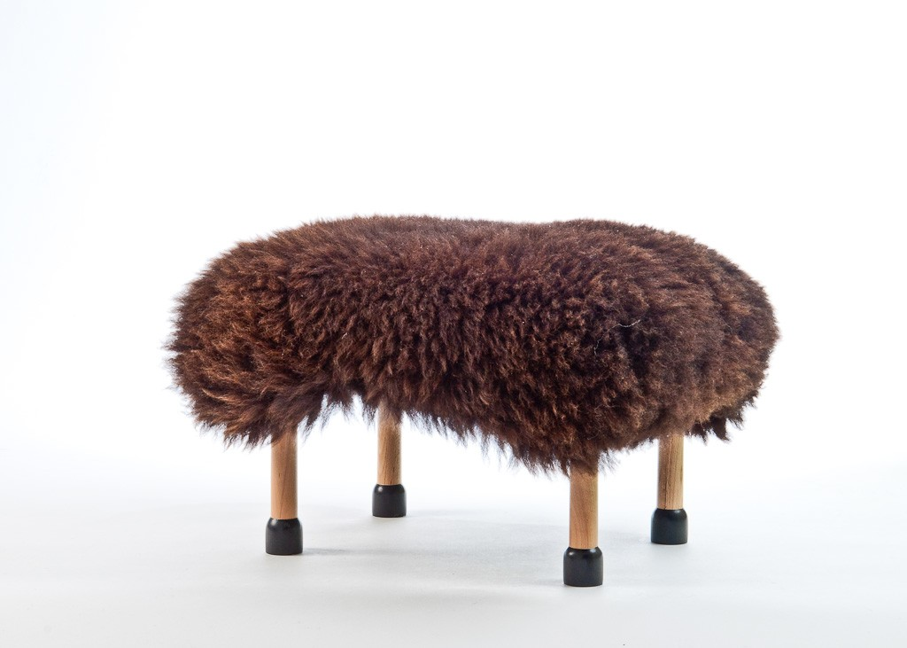 Nia Sheepskin Footstool Chocolate