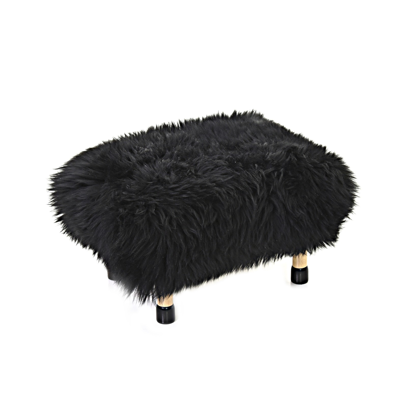 Nia Sheepskin Footstool Coal Black