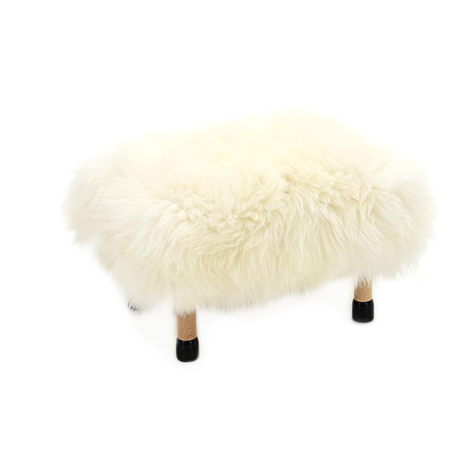 Nia Sheepskin Footstool Ivory