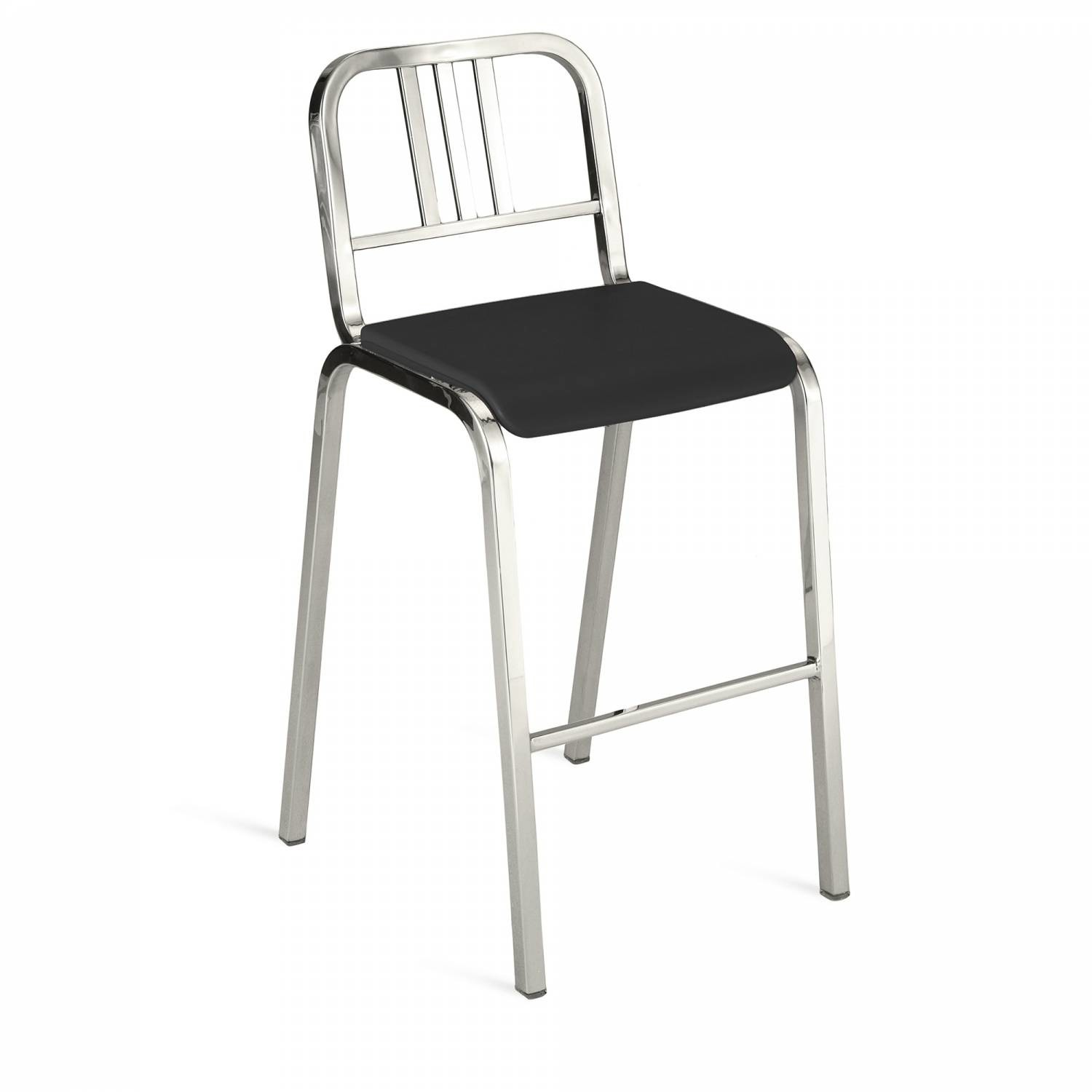 Nine-O Barstool Gray, Polished, Bar Back