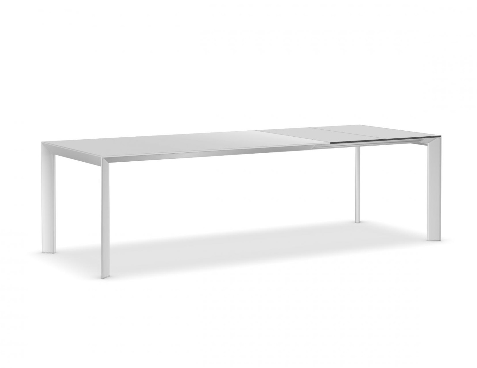 Nori glass Extensible - Depth 100 cm 189-236-283, Anodised Aluminium, Gloss glass: Extra White, Aluc
