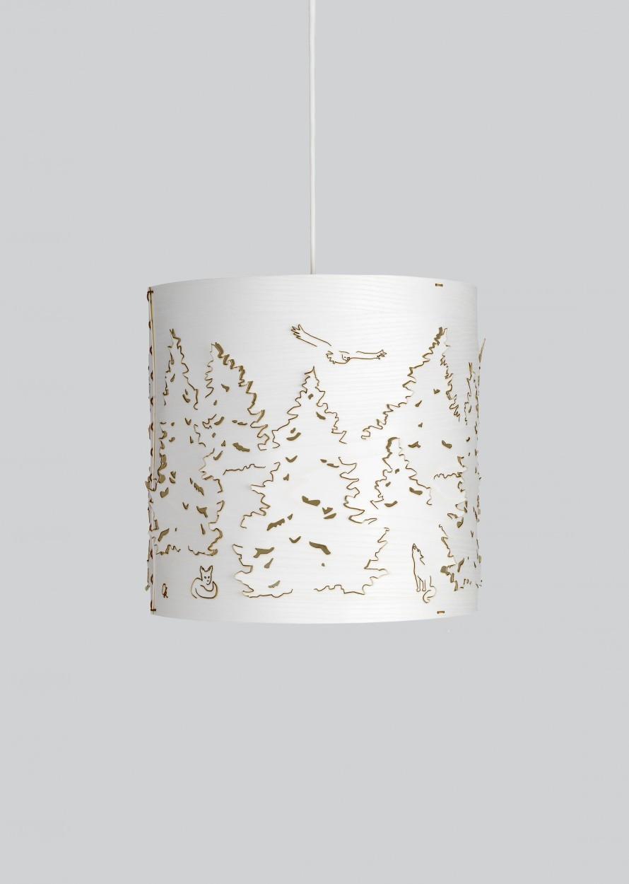 Norwegian Forest Pendant Light White Stained Ashl, Small
