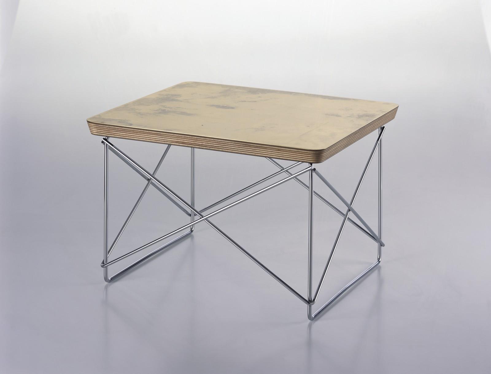 Occasional Table Ltr Gold Leaf Top Chromed Base 39525 Port