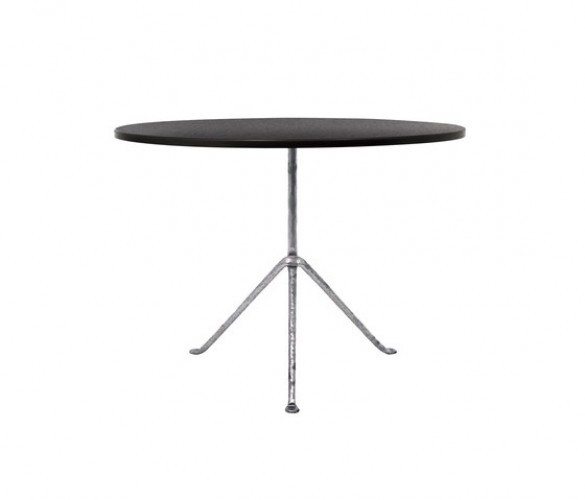 Officina Gueridon Dining Table Painted Black Top, Galvanized Frame