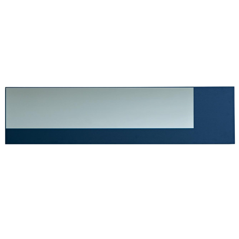 Offset Mirror Long Grey Mirror, Blue Wood