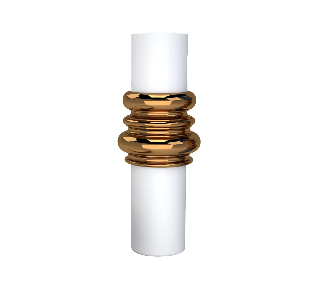Ordini Large Vase Matte White and Bronze