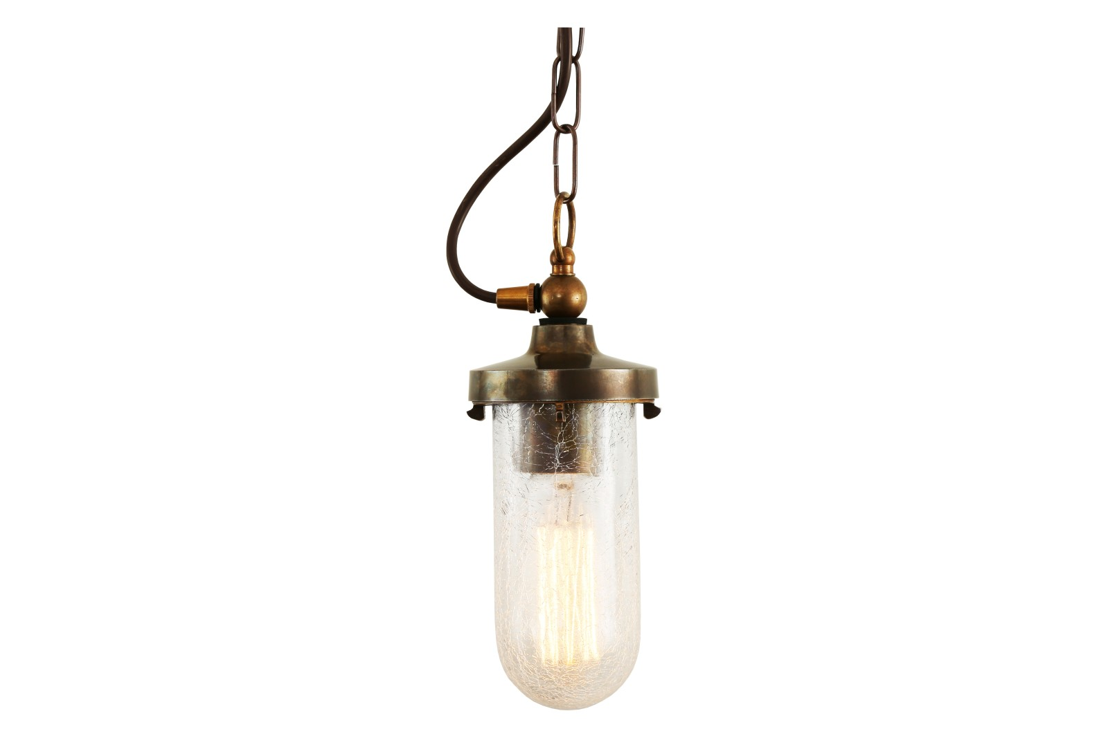 Oregon B Well Pendant Light Antique Brass, Crackled Glass