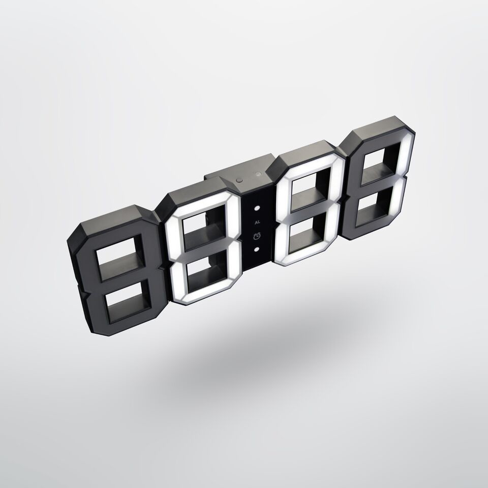 Original KIBARDIN White & White Digital LED Clock Black & White Digital LED clock