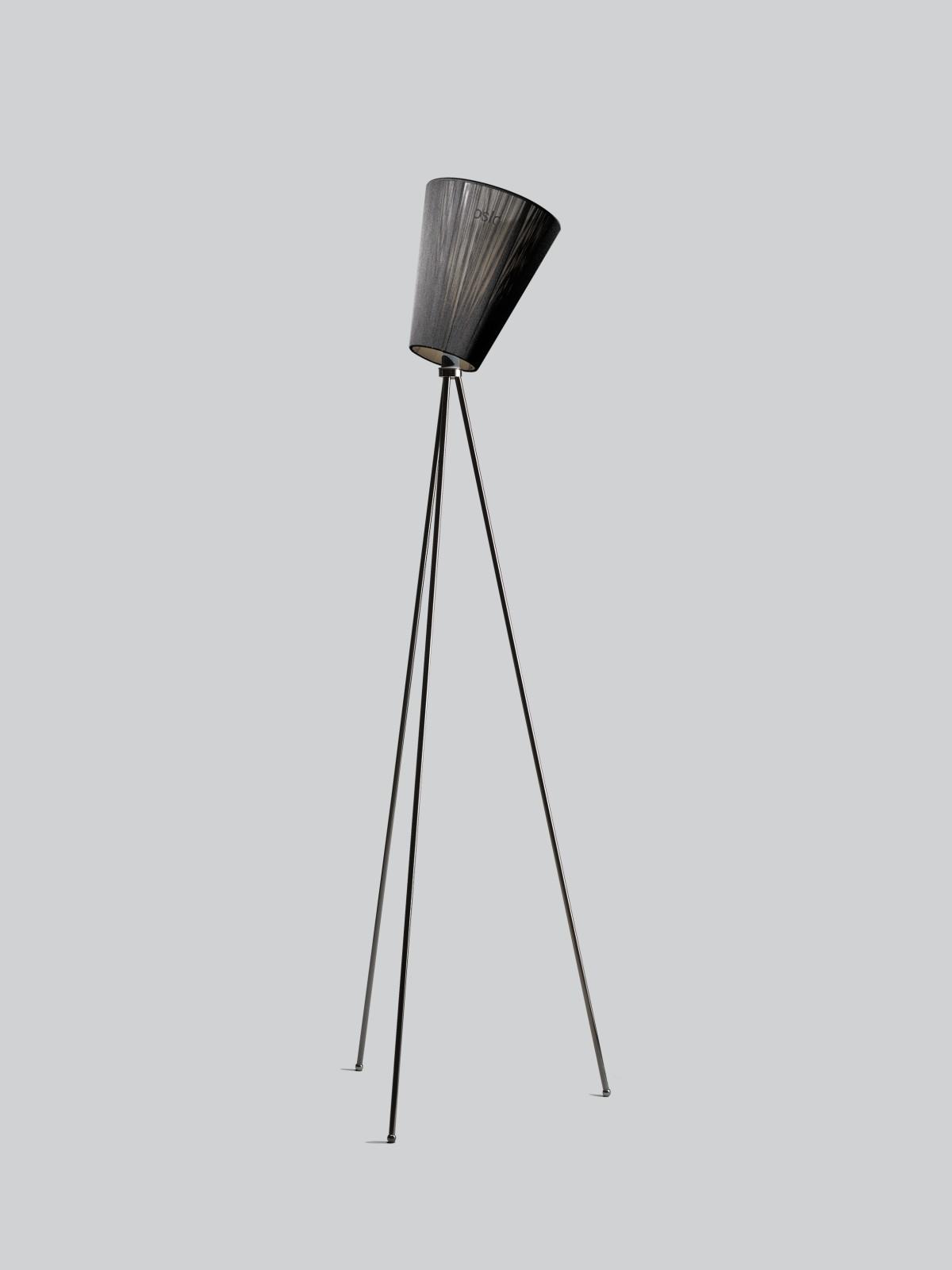 Oslo Wood Floor Lamp Black Shade, Glossy Black Body