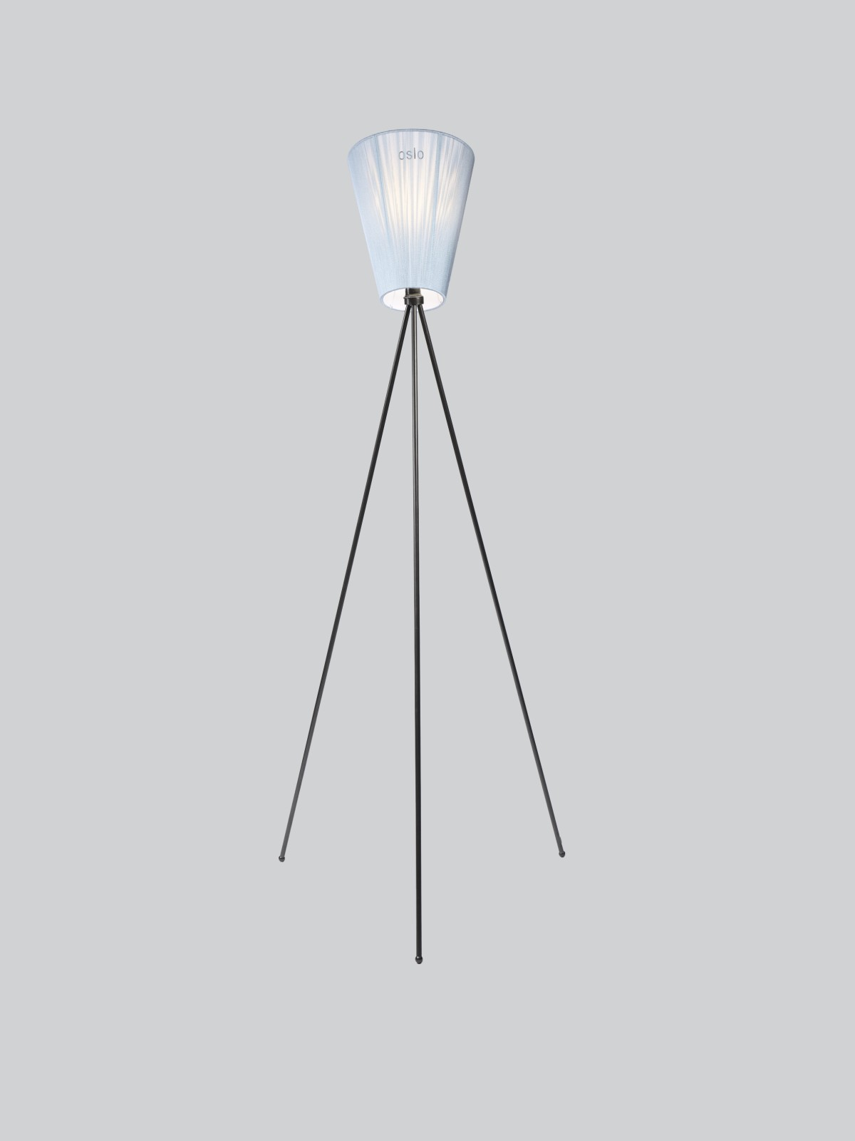 Oslo Wood Floor Lamp Light Blue Shade, Glossy Black Body