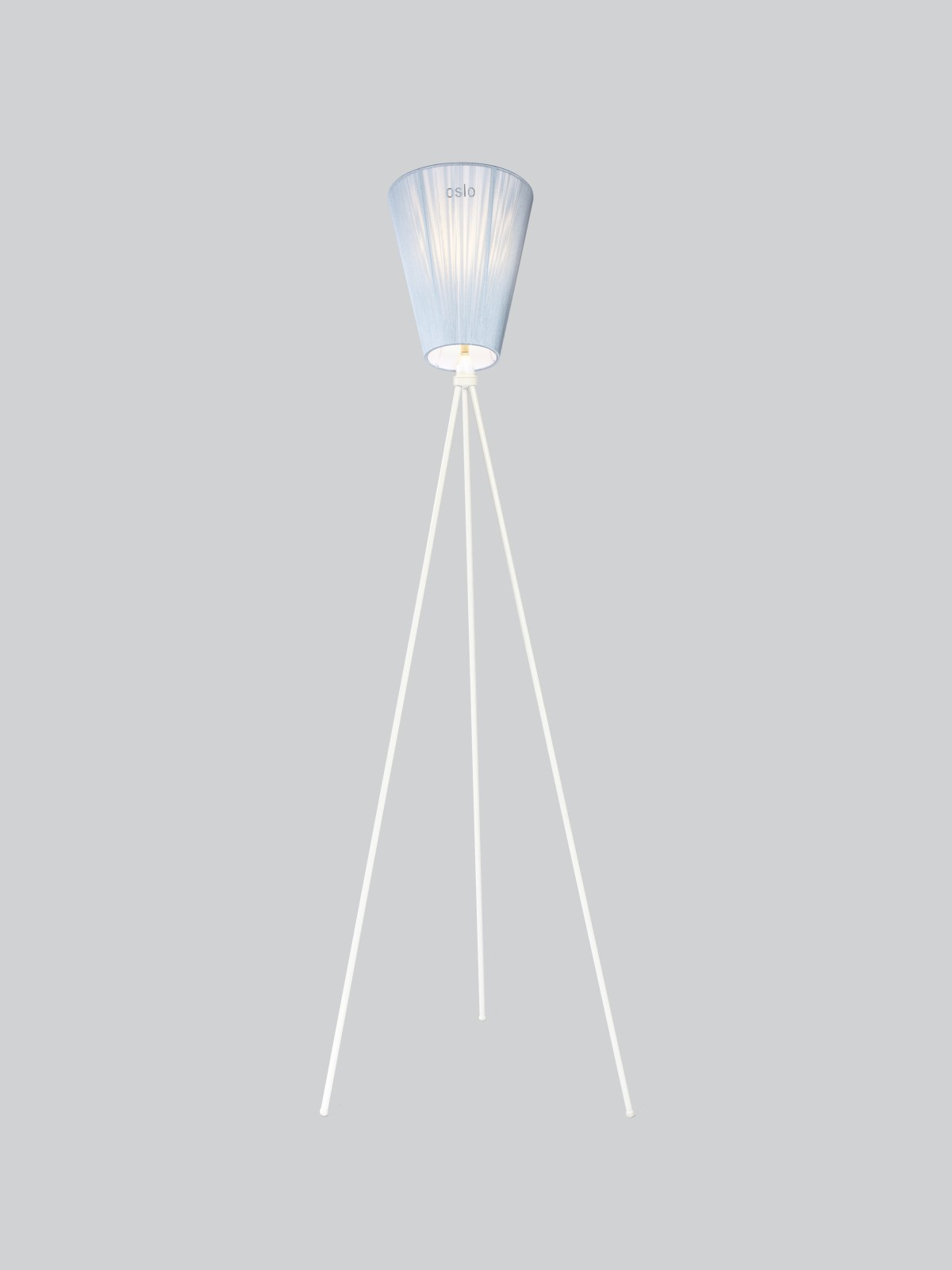 Oslo Wood Floor Lamp Light Blue Shade, White Body