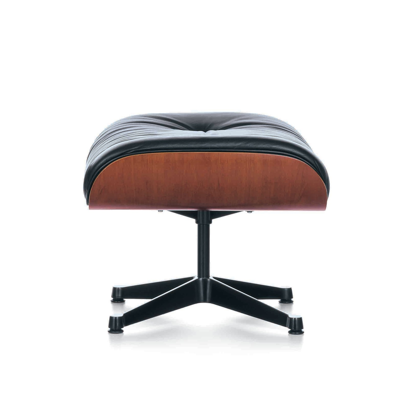 Eames Ottoman Chromed, Cherry, 04 glides for carpet, Leather Grand 72 snow
