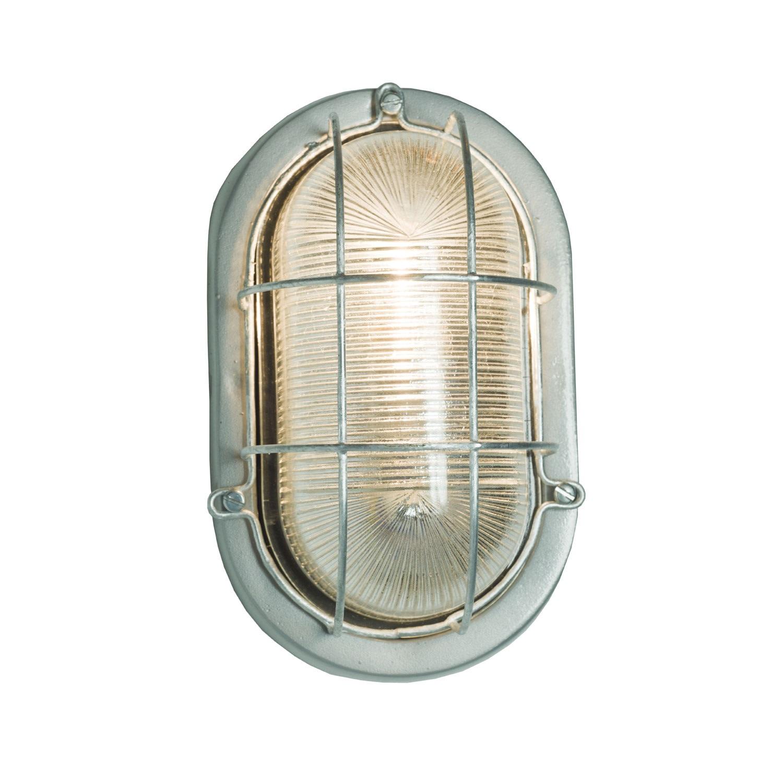 Oval Aluminium Bulkhead 7003 Silver, Standard E27