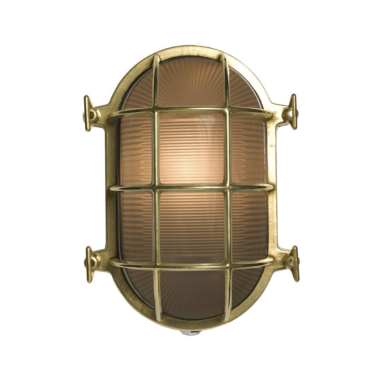 Oval Brass Bulkhead Polished Brass, 23.5cm