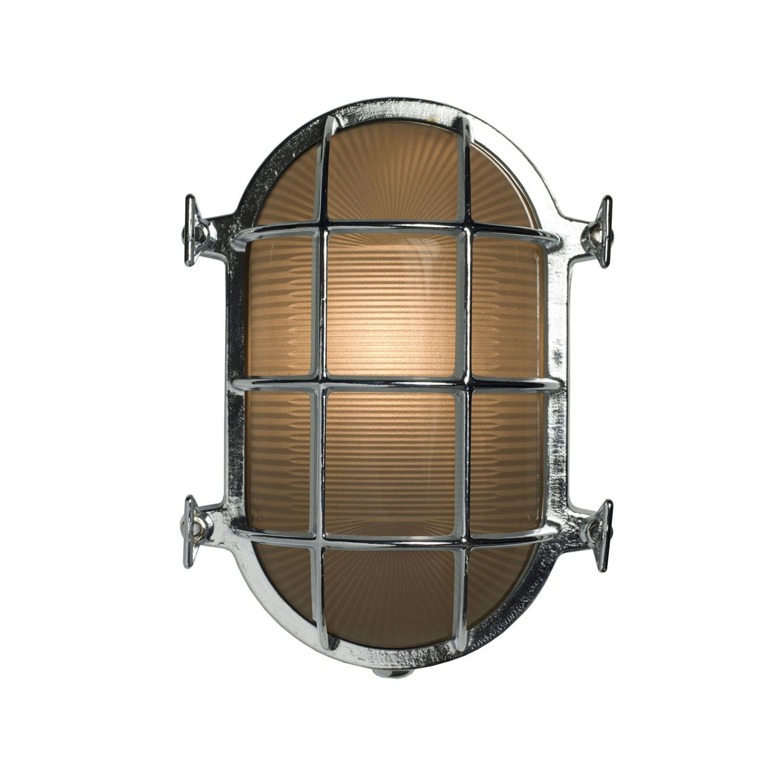 Oval Brass Bulkhead Chrome, 23.5cm