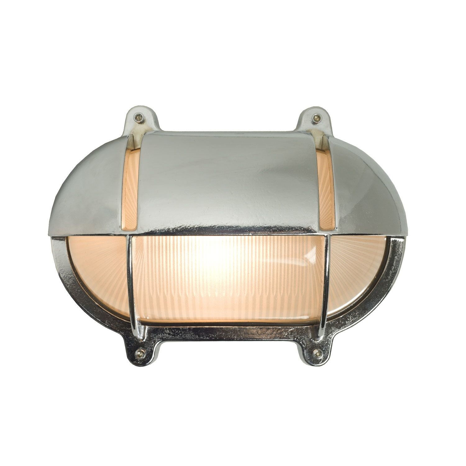 Oval Brass Bulkhead With Eyelid Shield Chrome Plated, Medium