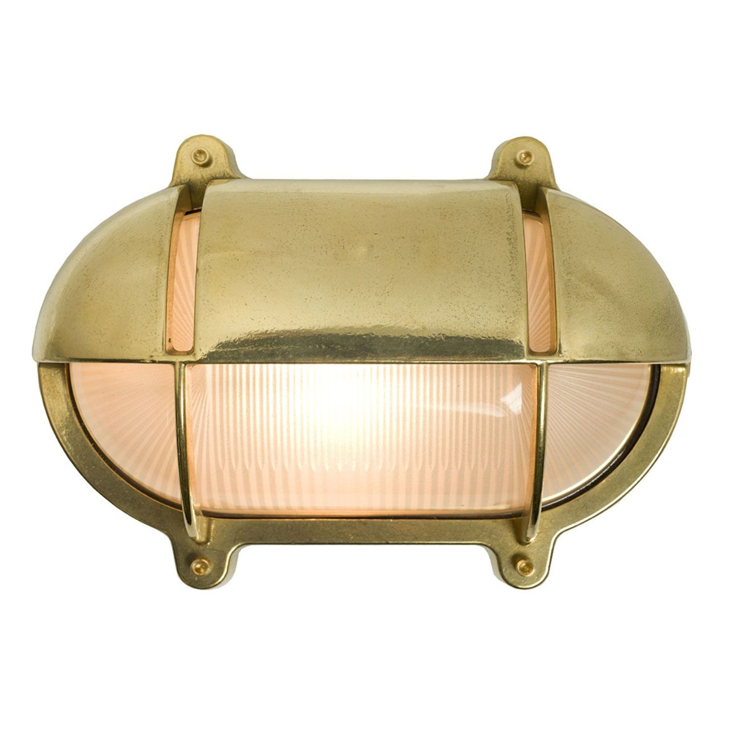 Oval Brass Bulkhead With Eyelid Shield Natural Brass, Large