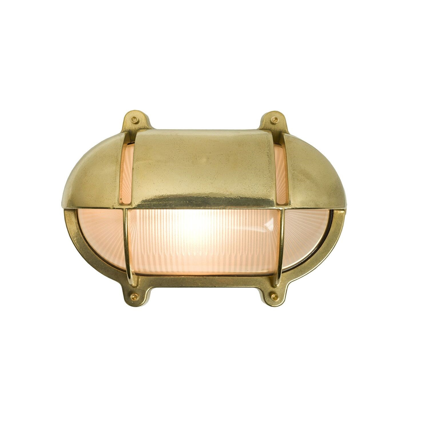 Oval Brass Bulkhead With Eyelid Shield Natural Brass, Small