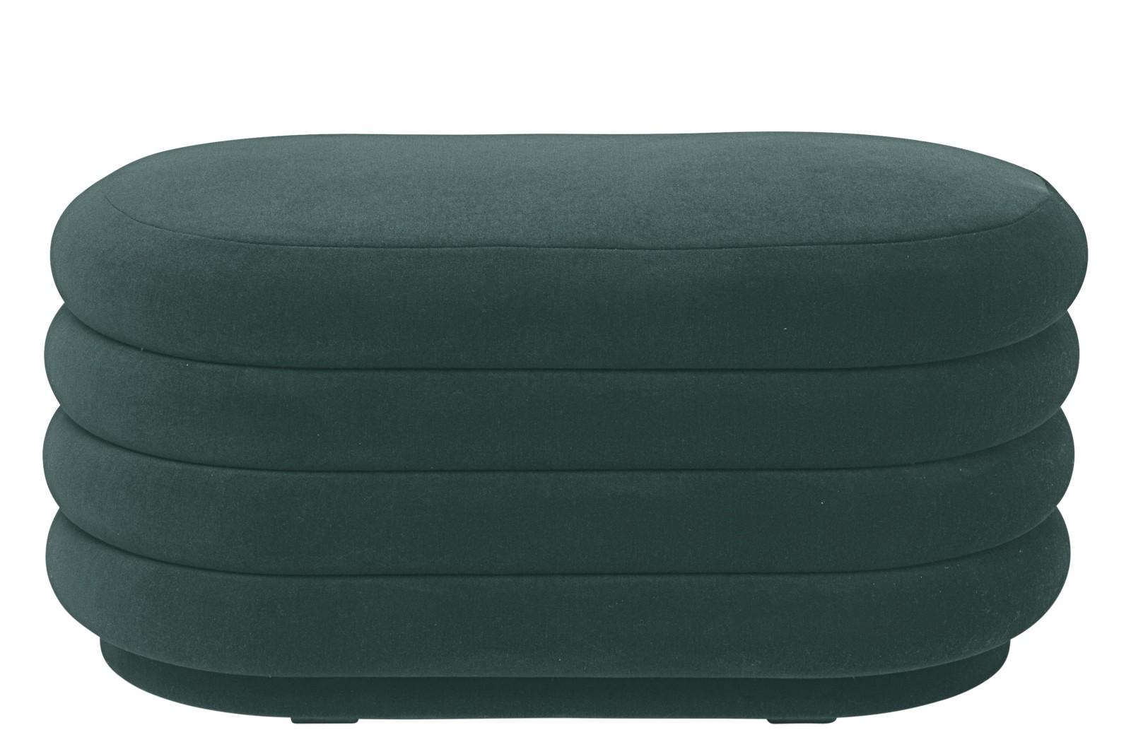 Oval Pouf Dark Green