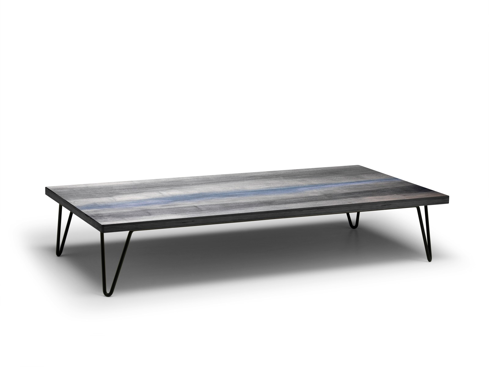 Overdyed Coffee Table Weathered Grey Shell with Raw Black Base