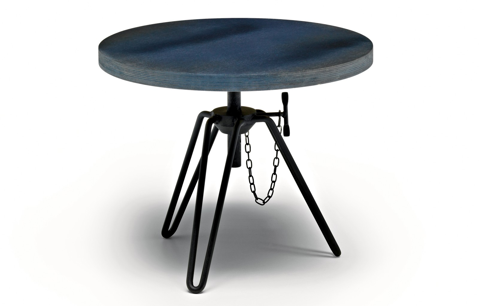 Overdyed Side Table Weathered Grey Shell with Raw Black Base
