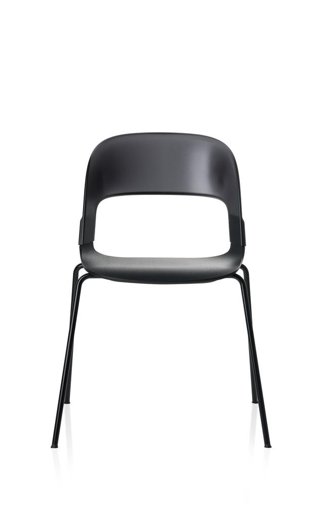 Pair Chair Black Lacquered Oak Black Powder Coated