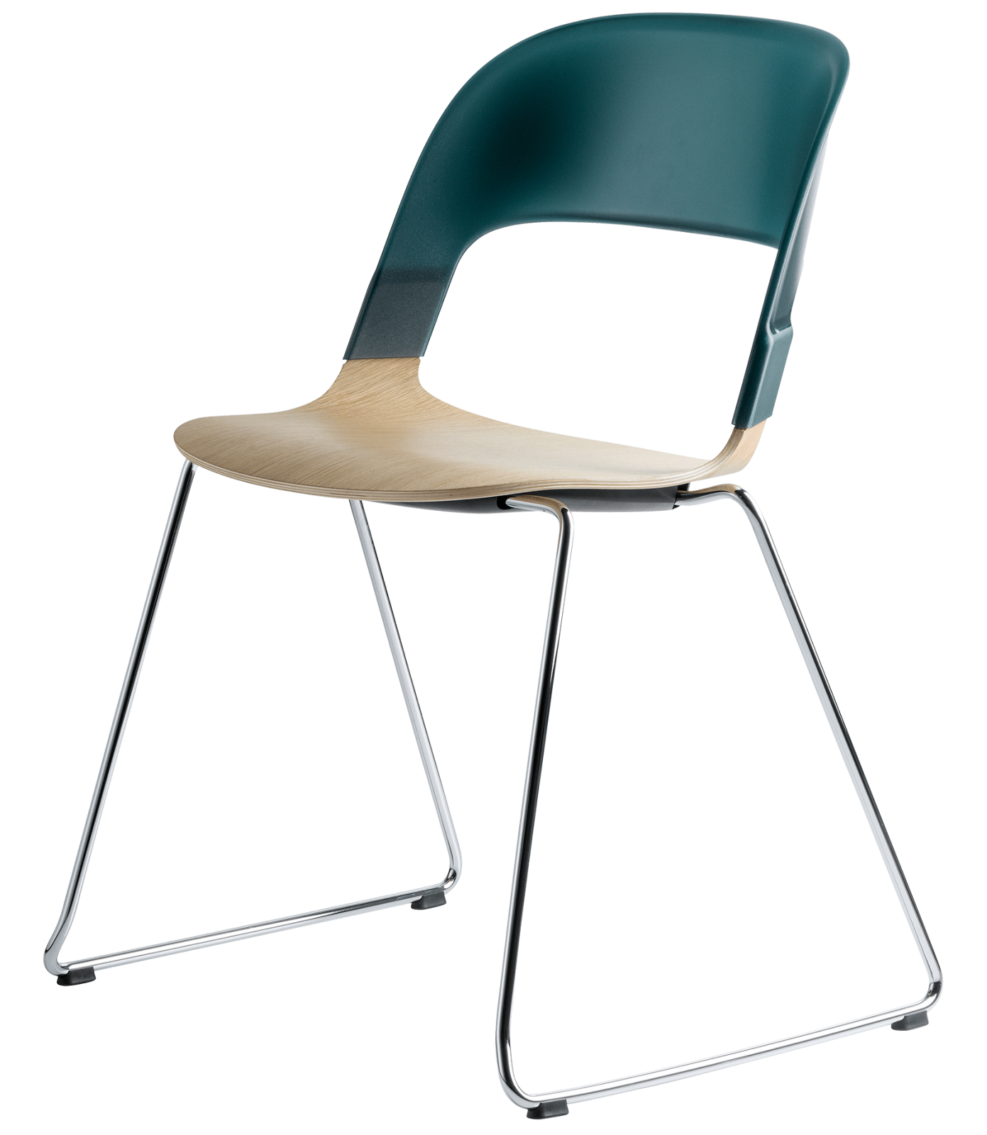 Pair Chair - sled base Oak veneer Green Chrome