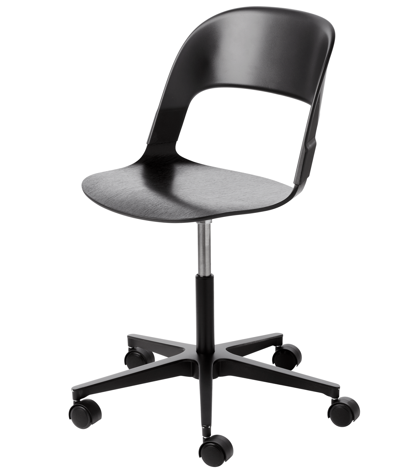 Pair Chair - star base Black Lacquered Oak Black Black Powder Coated